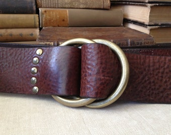 Ralph Lauren Brown Leather Belt, Brass Buckle, Made in Argentina, Gorgeous Handcrafted 30, 32, 34, 36