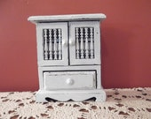 Hand-made jewelry armoire,vintage shabby chic wardrobe, Oceanbluecreations