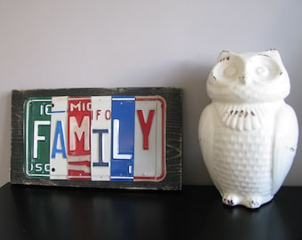 FAMILY sign made with reclaimed vintage license plates Home Decor Office sign