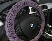 Crochet Steering Wheel Cover, Wheel Cozy - dark mauve (CSWC 2MMM)