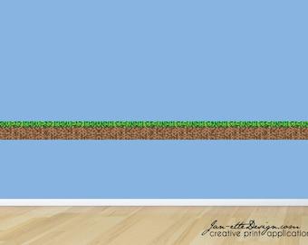 Gaming Wall Border Removable Fabric Wall Decal, Gaming Wall Sticker, Wall Border