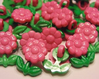 10 pink little flower buttons, 12 x 15 mm (B11)
