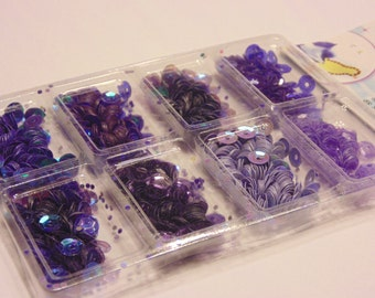 1 package of 8 different purple tone sequins, 7 mm (HR14)