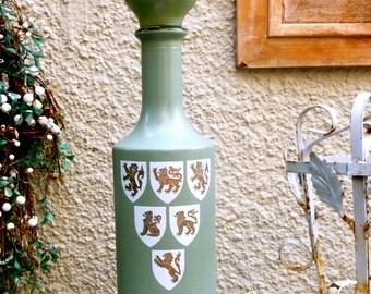 Midcentury Liquor Decanter,   Original Cork Stopper,    Lions Crests,  Sage Green Painted Bottle,  Home Bar Decor,  Vintage  Bottle