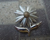Vintage Flower Brooch,  Silver Tone with Gold Tone Center.  Pretty