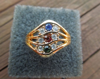 Vintage AVON Ring, Sparkling Wave Ring, Size 10, Signed, with Original Box