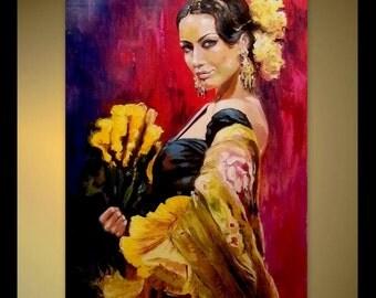Custom Portrait Original Oil Painting Flamenco Dancer With A Fan - Large Size - Tango Latin Woman Dancing Red Palette Knife Portrait Canvas