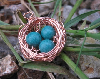 Three Bird Nest Pendant with Copper Speckled Green Eggs