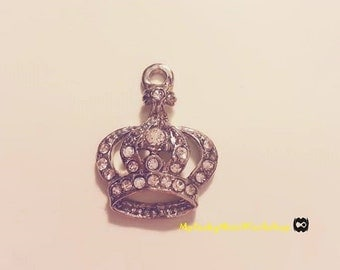 2.5cmX2cm Sliver Rhinestone Crown Charm
