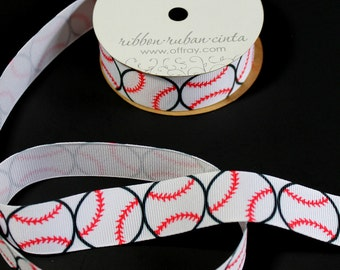 Baseball Print Offray Grosgrain Ribbon - Wreaths, Bows, Wrapping, Floral