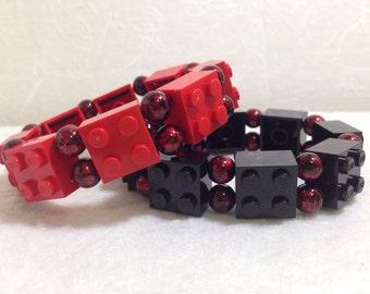 LEGO Stretch Bracelet with Red Black Beads