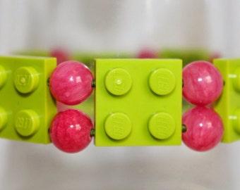 Lime and Pink Lego Bracelet