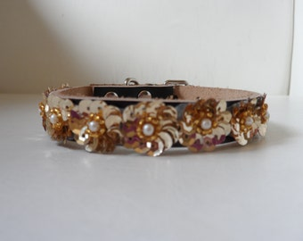 Couture collar. Gold sequin flower wrap with faux pearl centers on superior quality, soft, lightweight leather
