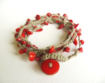 Red Coral bracelet necklace, crochet linen bracelet, Red coral chips gemstone, Bohemian crochet bracelet, Shabby chic romantic Birthday gift
