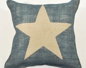 Burlap Pillow- Blue Star - Modern Farmhouse - 16 x 16 Inches - Family Room - Gift for Husband