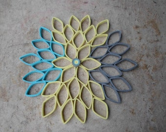 Dahlia Wall Hanging In Yellow Blue Gray Modern Home Decor Bedroom Art Round