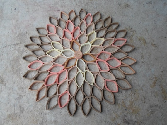 Dahlia wall hanging coral home decor modern wall art for Decoration murale contemporaine