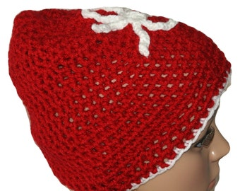 Slouch Hat, Slouchy Hat, Snowflake Hat, Mens Winter Hat, Christmas Hat, Crochet Hat, Red Beanie, Red Winter Hat, Crochet Christmas Hat