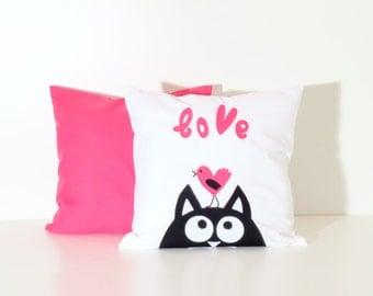 Cat Pillowcase, Pink Kitty Decorative Throw Pillows, Pink Chevron Pillow