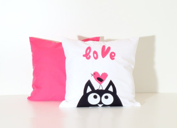 Cat Pillowcase, Pink Kitty Decorative Throw Pillows, Pink Chevron Pillow