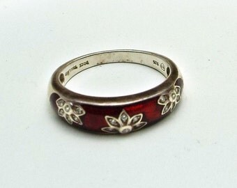 Ring Sterling Silver Red Enamel and Cubic Zirconia