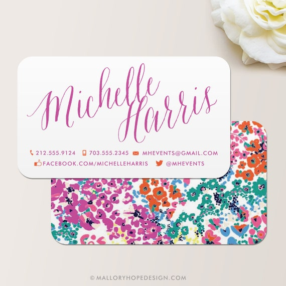 Modern floral business card calling card mommy card for Florist business cards