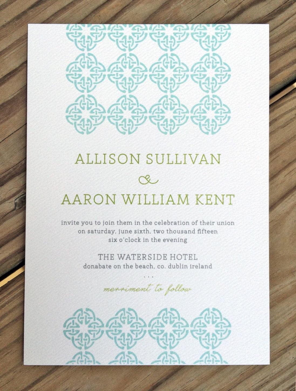 Celtic knot irish wedding invitation rsvp by for Etsy wedding invitations ireland
