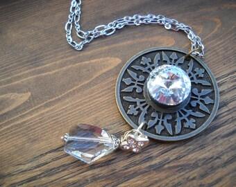 White Crystal Pendant Necklace, High Fashion, Boho, Statement, Mixed Metal