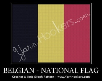 Belgium National Flag - Afghan Crochet Graph Pattern Chart by Yarn Hookers