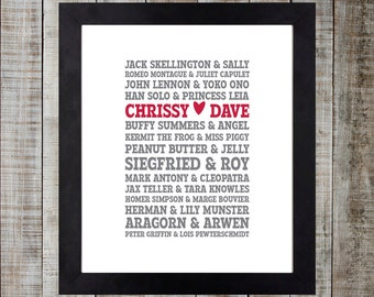 Custom Couples Typographic Print - 11x14