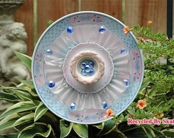 Blue Pink Frosted Glass Yard Art Garden Flower Plate / Art / Sculpture / Garden