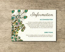 Peacock Themed Wedding Information Card - The Grace Collection - DIY and Customizable INSTANT DOWNLOAD