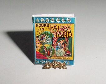 Dollhouse Miniature Book HOURS IN FAIRYLAND - McLoughlin Bros 1883 - One Inch Scale Dollhouse Childrens Nursery Fairy Tale Book Accessory