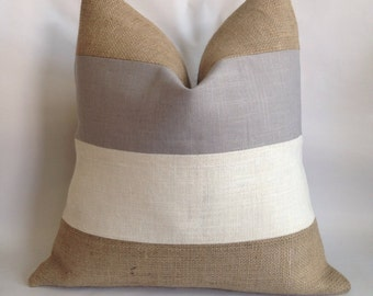 Light Gray Linen/Cotton, White Burlap and Natural Burlap Striped Pillow Cover