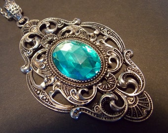 Jeweled Blue Victorian Necklace