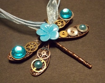 Clockwork Dragonfly Steampunk Necklace- Copper and Blue