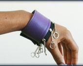 Purple Vegan Leather Cuffs with Chains, Unisex, Bracelets, Cynt D B