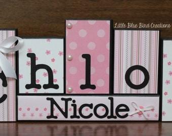 Children's Name Wood Blocks-bedroom Theme Decor - wooden block displays