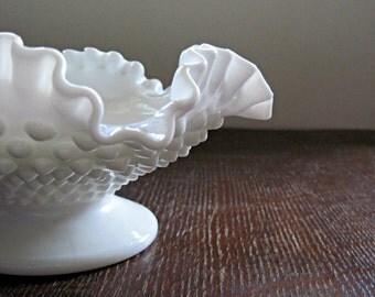 White Milk Glass Bowl Fenton Hobnail Design, Candy Dish