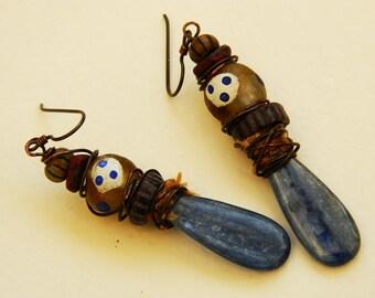 Kyanite,Trade bead,copper Tribal ,Gypsy,Boho earrings