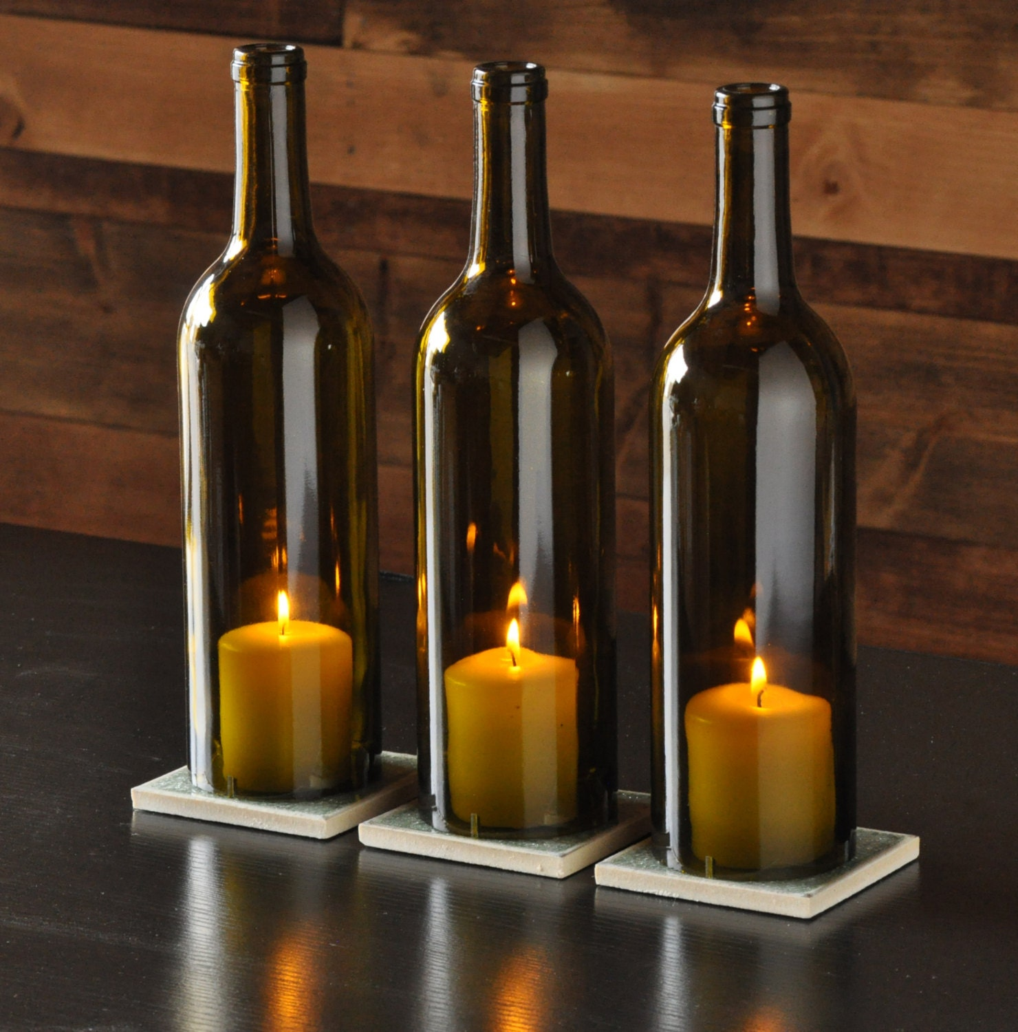 Wine bottle candle holder centerpieces for How to make candle holders out of wine bottles