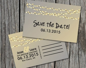Save the Date Postcard - String of Lights Rustic Wedding