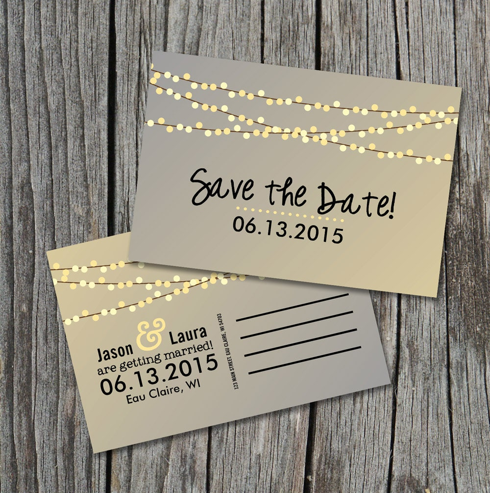 Save the Date Postcard String of Lights Rustic Wedding