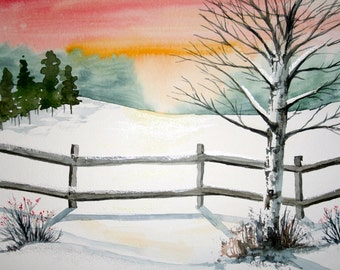 Winterberry, original watercolor painting