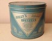 Vintage 1930s Billy's Pretzel Tin Bretzels