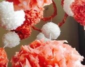 Peach & White Pom Pom Baby Mobile