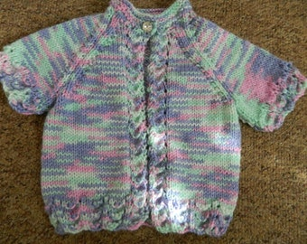 lovely hand knitted baby cardigan/ sweater mixed colours 0-3 month