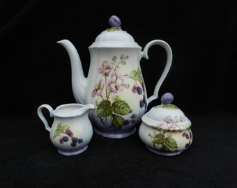 Victorian Coffee Service Berries and Blossoms: Hand decorated porcelain