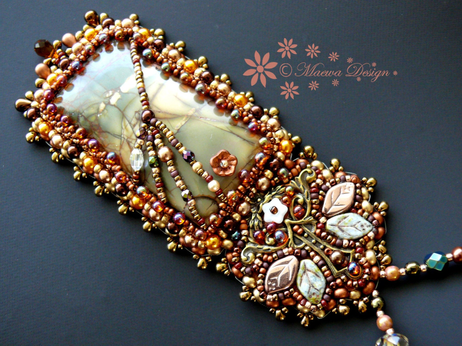 Bead embroidered pendant necklace early spring by maewadesign