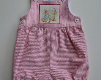 Red/white stripe seersucker romper, Beatrix Potter romper, baby bubblesuit, toddler romper, Peter Rabbit,  baby gift, Newborn to 18 months.
